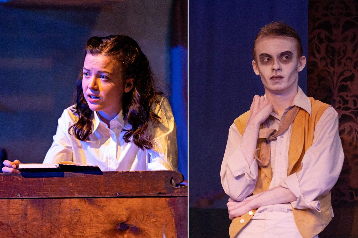 Cate Stuart as Anne Frank and Shawn Baker as an Addams Family Ancestor