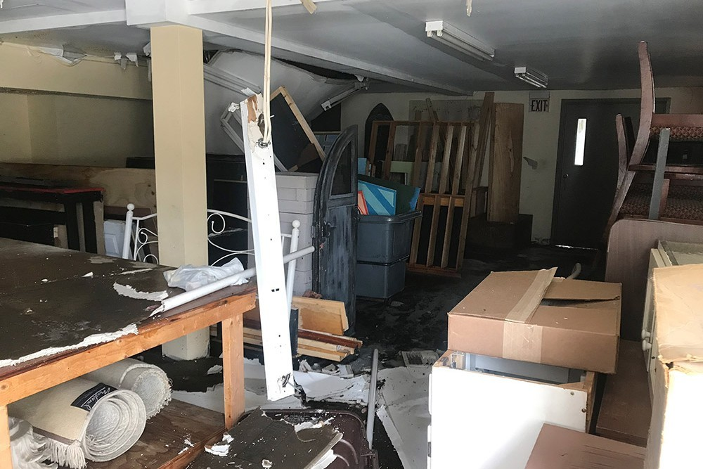 Destruction and debris in Stowe Theatre Guild's storage space